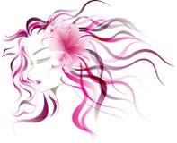 Sombra abstracta de la señora del diseño con la flor rosada del lirio Foto de archivo libre de regalías