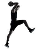Sombra aislada hombre de la silueta del jugador de básquet Foto de archivo libre de regalías