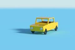 Sombra amarela da carcaça do carro no fundo azul ilustração stock