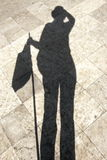 Sombra da mulher, luz preta e silhueta Imagens de Stock
