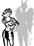 Sombra de la muchacha y del diablo Imagen de archivo libre de regalías