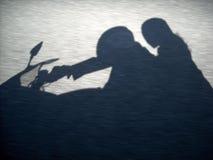 Sombra de los motoristas Fotografía de archivo