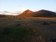 A sombra de Moai imagens de stock