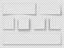 sombra de papel Frontera realista transparente de la maqueta de la plantilla de la bandera de la web de la pestaña del borde del  stock de ilustración