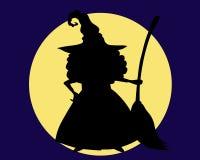 Sombra de uma bruxa com uma vassoura Imagem de Stock