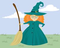 Sombra de uma bruxa com uma vassoura Fotografia de Stock Royalty Free