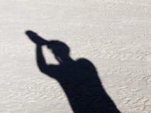Sombra del hombre en el puesto de observación Fotografía de archivo
