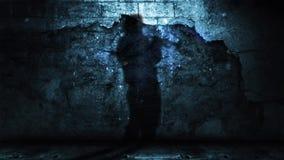 Sombra del jugador de cuerno contra la pared del Grunge con ruina que cae almacen de metraje de vídeo