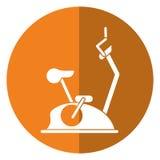 Sombra estática del gimnasio de la aptitud de la máquina de la bici ilustración del vector