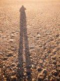 Sombra fresca de la sombra de la reflexión de la silueta en tex del adoquín de la playa de la arena Imagen de archivo
