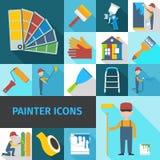 Sombra lisa ajustada ícones do pintor Imagens de Stock Royalty Free