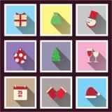 Sombra longa ajustada ícones do Natal Fotografia de Stock Royalty Free