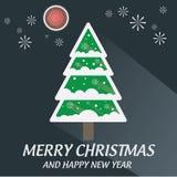 Sombra longa da ilustração da lua e do fogo de artifício da árvore do Feliz Natal Fotografia de Stock Royalty Free