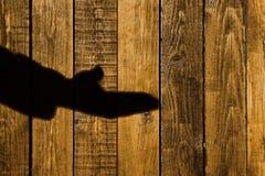 Sombra masculina en un fondo de madera, XXXL de la mano Fotos de archivo