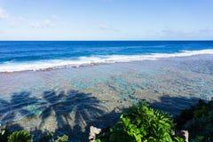 Sombras das palmeiras na água abaixo na praia do coral de Tamakautoga fotos de stock royalty free