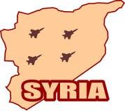 Sombras de Jet Bomber en el mapa de Siria ilustración del vector