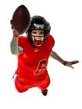 Sombras de la muchacha de la mujer del adolescente de los jugadores de fútbol americano aisladas Foto de archivo libre de regalías
