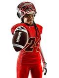Sombras de la muchacha de la mujer del adolescente de los jugadores de fútbol americano aisladas Fotos de archivo