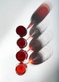 Sombras de las copas de vino rojas Imagenes de archivo