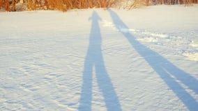 Sombras de los pares románticos que caminan en nieve en día soleado del invierno durante tiempo de la puesta del sol Imagen de archivo