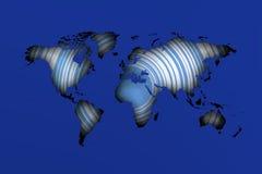 Sombras del mapa de Worrld sobre círculos azules ilustración del vector