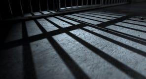Sombras del molde de las barras de la celda de prisión Fotos de archivo libres de regalías