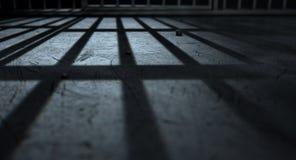 Sombras del molde de las barras de la celda de prisión Imagen de archivo