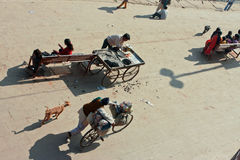 Sombras dos povos ocupados na rua ensolarada Fotos de Stock Royalty Free