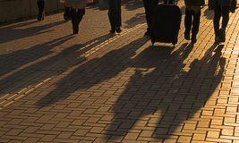 Sombras dos viajantes Imagens de Stock