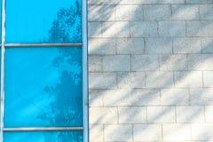 Sombras en el vidrio de la ventana y la pared azules Fotos de archivo libres de regalías