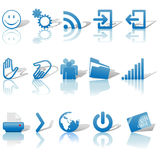 Sombras fijadas iconos azules y Relections del Web en el blanco 2 Fotografía de archivo libre de regalías