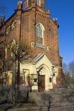 Sombras no fasade da igreja evangélica do Lutheran Fotografia de Stock