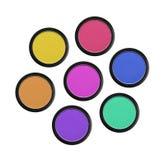 Sombreadores de ojos coloridos en rectángulos negros Imagen de archivo libre de regalías