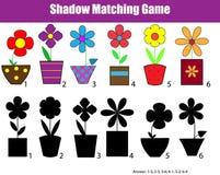 Sombree el juego educativo de los niños a juego, hoja de la actividad de los niños stock de ilustración