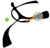 Sombree la historieta del tenis del hombre Foto de archivo