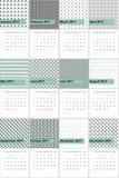 Sombreie o verde e o calendário geométrico colorido imperador 2016 dos testes padrões ilustração do vetor