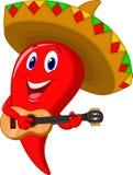 Sombreiro vestindo dos desenhos animados do mariachi da pimenta de pimentão Imagem de Stock