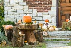 Sombrerero y Alice Thanksgiving o fiesta del té enojada de Halloween en el bosque Imagen de archivo libre de regalías