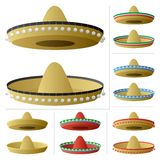 Sombrero. A sombrero in 2 positions and 6 color variations. No transparency used. Basic (linear) gradients used royalty free illustration