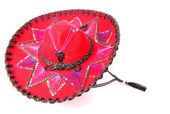 Sombrero. Red  Mexican sombrero with sequins and embroidery Royalty Free Stock Photos