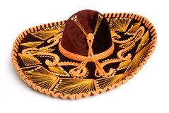 Sombrero. A deep burgundy colored velvet sombrero, isolated on white royalty free stock image