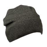 Sombrero aislado en el fondo blanco Sombrero hecho punto Sombrero gris Fotos de archivo