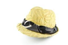 Sombrero amarillo de la tela Foto de archivo libre de regalías