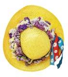 Sombrero amarillo del verano de la paja Fotografía de archivo libre de regalías