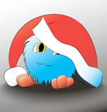 Sombrero azul de la Navidad de la historieta linda del monstruo foto de archivo libre de regalías