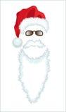 Sombrero, barba y vidrios rojos de Papá Noel. Imagenes de archivo