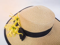 Sombrero. With beautiful flower for vacation Stock Images