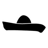 Sombrero black color icon . Royalty Free Stock Photography