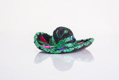 Sombrero. A black Mexican sombrero with bright colored and festive stitching stock images