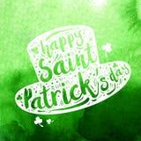 Sombrero blanco de Patrick de la silueta en fondo verde de la acuarela Día feliz del ` s de St Patrick de la caligrafía, elemento